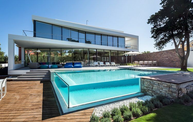 GLASS WALLED SWIMMING POOL